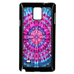 Red Blue Tie Dye Kaleidoscope Opaque Color Circle Samsung Galaxy Note 4 Case (Black)