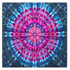 Red Blue Tie Dye Kaleidoscope Opaque Color Circle Large Satin Scarf (Square)
