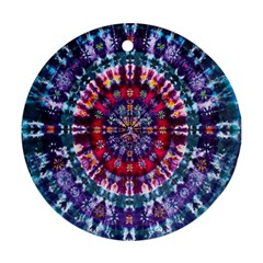 Red Purple Tie Dye Kaleidoscope Opaque Color Ornament (Round)