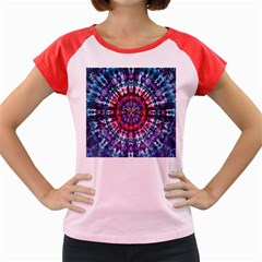 Red Purple Tie Dye Kaleidoscope Opaque Color Women s Cap Sleeve T-Shirt