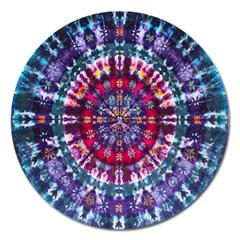 Red Purple Tie Dye Kaleidoscope Opaque Color Magnet 5  (Round)