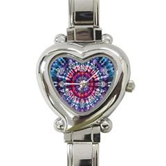 Red Purple Tie Dye Kaleidoscope Opaque Color Heart Italian Charm Watch