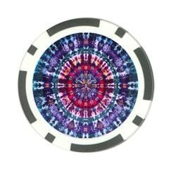 Red Purple Tie Dye Kaleidoscope Opaque Color Poker Chip Card Guard