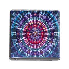Red Purple Tie Dye Kaleidoscope Opaque Color Memory Card Reader (Square)