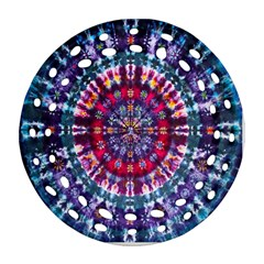 Red Purple Tie Dye Kaleidoscope Opaque Color Round Filigree Ornament (Two Sides)