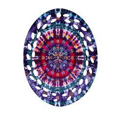 Red Purple Tie Dye Kaleidoscope Opaque Color Ornament (Oval Filigree)