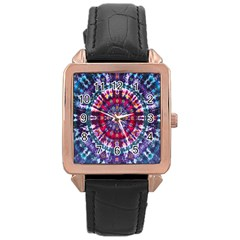 Red Purple Tie Dye Kaleidoscope Opaque Color Rose Gold Leather Watch