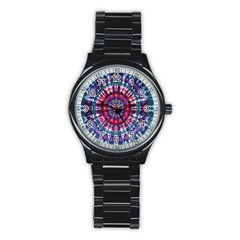 Red Purple Tie Dye Kaleidoscope Opaque Color Stainless Steel Round Watch