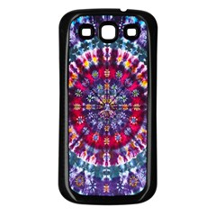 Red Purple Tie Dye Kaleidoscope Opaque Color Samsung Galaxy S3 Back Case (Black)