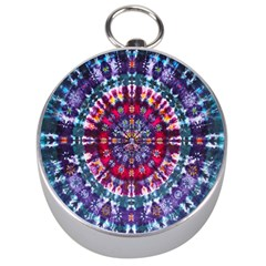 Red Purple Tie Dye Kaleidoscope Opaque Color Silver Compasses
