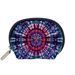 Red Purple Tie Dye Kaleidoscope Opaque Color Accessory Pouches (Small)