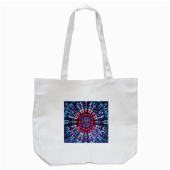 Red Purple Tie Dye Kaleidoscope Opaque Color Tote Bag (White)