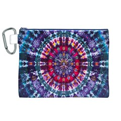 Red Purple Tie Dye Kaleidoscope Opaque Color Canvas Cosmetic Bag (XL)