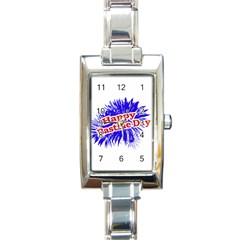 Happy Bastille Day Graphic Logo Rectangle Italian Charm Watch