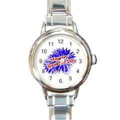 Happy Bastille Day Graphic Logo Round Italian Charm Watch