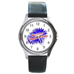 Happy Bastille Day Graphic Logo Round Metal Watch
