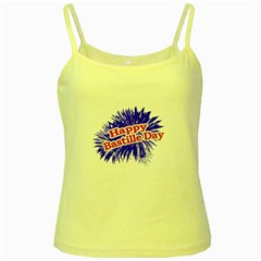 Happy Bastille Day Graphic Logo Yellow Spaghetti Tank