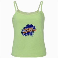 Happy Bastille Day Graphic Logo Green Spaghetti Tank