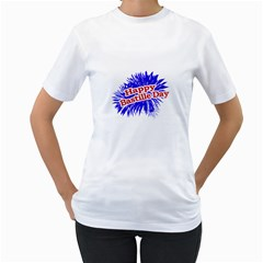 Happy Bastille Day Graphic Logo Women s T-Shirt (White) (Two Sided)