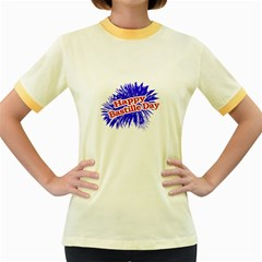 Happy Bastille Day Graphic Logo Women s Fitted Ringer T-Shirts