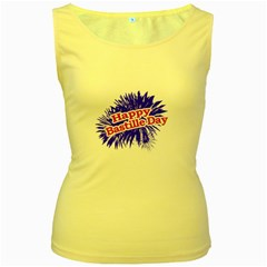 Happy Bastille Day Graphic Logo Women s Yellow Tank Top