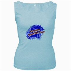 Happy Bastille Day Graphic Logo Women s Baby Blue Tank Top