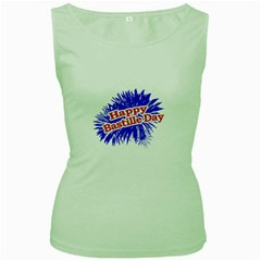 Happy Bastille Day Graphic Logo Women s Green Tank Top