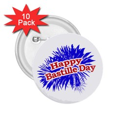 Happy Bastille Day Graphic Logo 2.25  Buttons (10 pack)