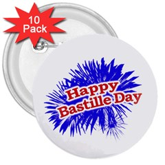 Happy Bastille Day Graphic Logo 3  Buttons (10 pack)