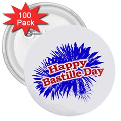 Happy Bastille Day Graphic Logo 3  Buttons (100 pack)