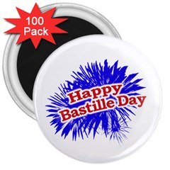 Happy Bastille Day Graphic Logo 3  Magnets (100 pack)