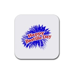 Happy Bastille Day Graphic Logo Rubber Square Coaster (4 pack)