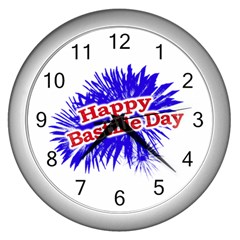 Happy Bastille Day Graphic Logo Wall Clocks (Silver)
