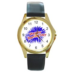 Happy Bastille Day Graphic Logo Round Gold Metal Watch