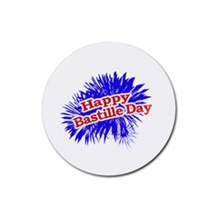 Happy Bastille Day Graphic Logo Rubber Round Coaster (4 pack)