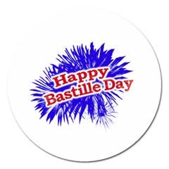 Happy Bastille Day Graphic Logo Magnet 5  (Round)