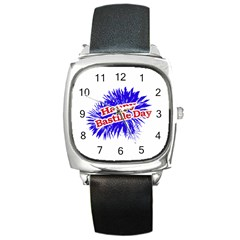 Happy Bastille Day Graphic Logo Square Metal Watch