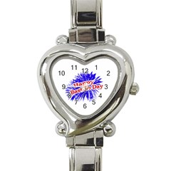 Happy Bastille Day Graphic Logo Heart Italian Charm Watch
