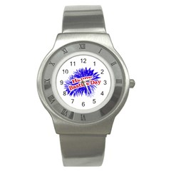 Happy Bastille Day Graphic Logo Stainless Steel Watch