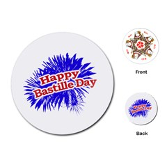 Happy Bastille Day Graphic Logo Playing Cards (Round)