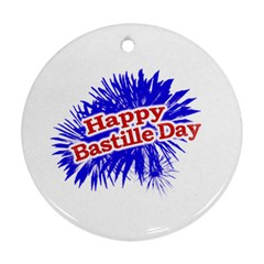 Happy Bastille Day Graphic Logo Round Ornament (Two Sides)