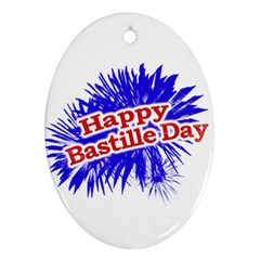 Happy Bastille Day Graphic Logo Oval Ornament (Two Sides)