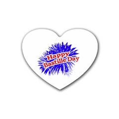 Happy Bastille Day Graphic Logo Heart Coaster (4 pack)