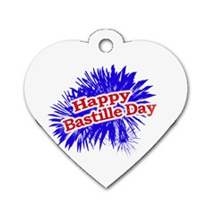 Happy Bastille Day Graphic Logo Dog Tag Heart (Two Sides)