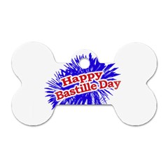 Happy Bastille Day Graphic Logo Dog Tag Bone (One Side)
