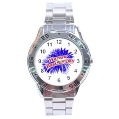 Happy Bastille Day Graphic Logo Stainless Steel Analogue Watch