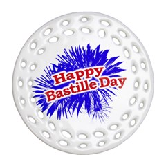 Happy Bastille Day Graphic Logo Round Filigree Ornament (Two Sides)