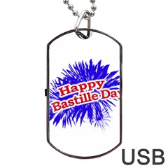 Happy Bastille Day Graphic Logo Dog Tag USB Flash (One Side)