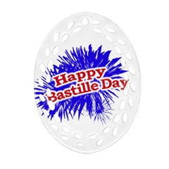 Happy Bastille Day Graphic Logo Oval Filigree Ornament (Two Sides)