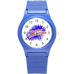 Happy Bastille Day Graphic Logo Round Plastic Sport Watch (S)
